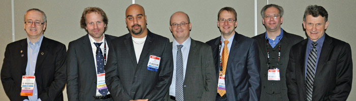 Moez Haque, pictured third from left, with the Photonics West judging panel.