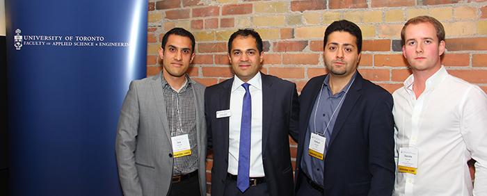 From left: Panelist Sep Seyedi, master of ceremonies Arshia Tabrizi, panelist Parham Aarabi and panelist Geordie Konrad.