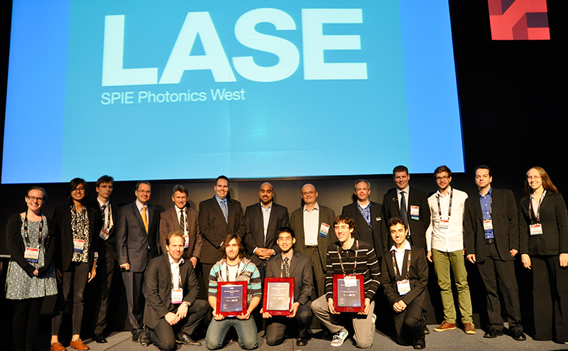 Judges pose with prizewinners in the LASE Conference at Photonics West.