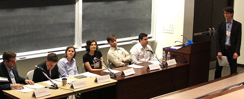 Panellists discuss industry vs. academic research at Connections 2014. From left: Dr. Karl Martin, Professor Jason Anderson, Professor Natalie Enright Jerger, Dr. Inmar Govani, Professor Tony Chan Carusone, and Michael Galle.