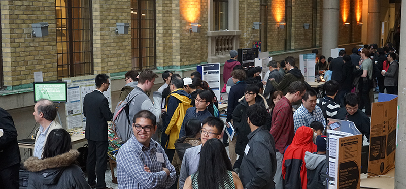 Students, faculty, industry and the public pack the Bahen Centre for Information Technology on April 2, 2015 to see fourth-year ECE students demonstrate their capstone projects.