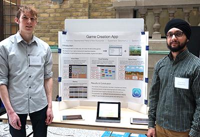 Rick Buczynski and Deepkanwal Plaha demonstrate their side-scrolling gaming app.