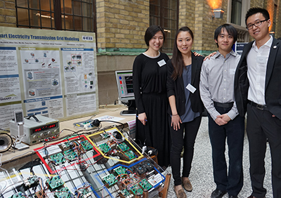 From left: Mia Ma, Yoley Li, Tony Liu and Allen Ma demonstrate their sustainable microgrid model.