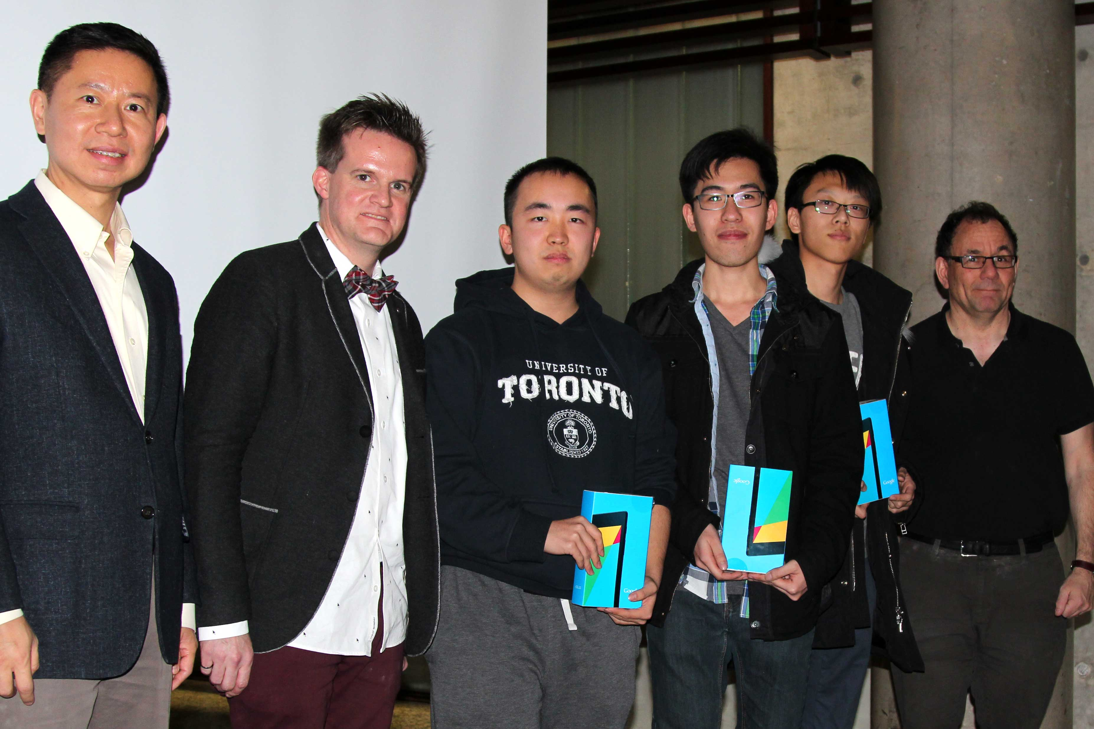 From left: Professor Baochun Li, Professor Jason Anderson, Edward Liu, Ivan Co, Steven Shizhang Yin, and Professor Jonathan Rose.