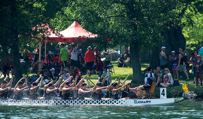 Iron Dragons boat cruises by onlookers