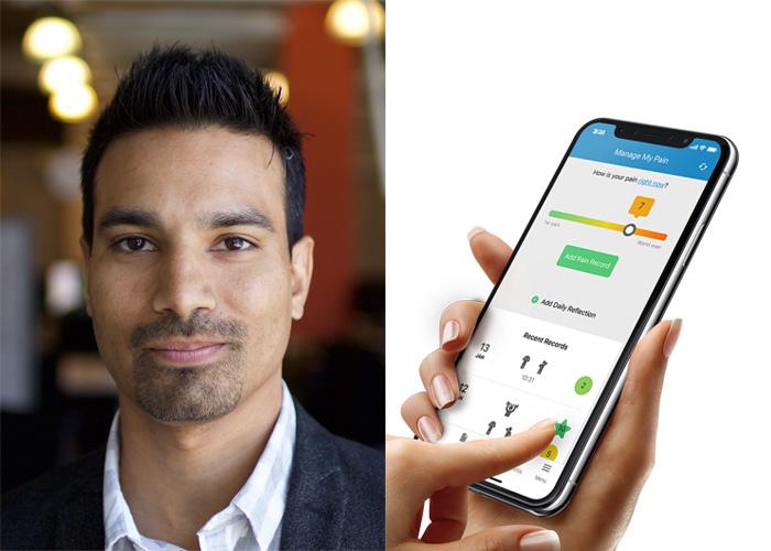 Tahir Janmohamed and a screenshot of the app 'Managing Life'