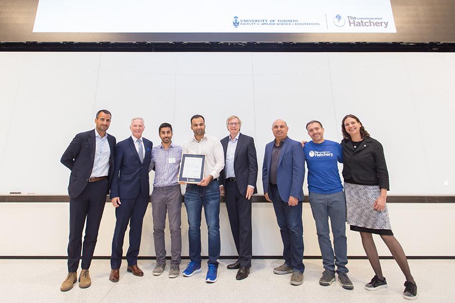 eXamify team members (second from left) Kia Shakiba and Mohammadmehdi Ataei. (Photo: Ben Ouyang)