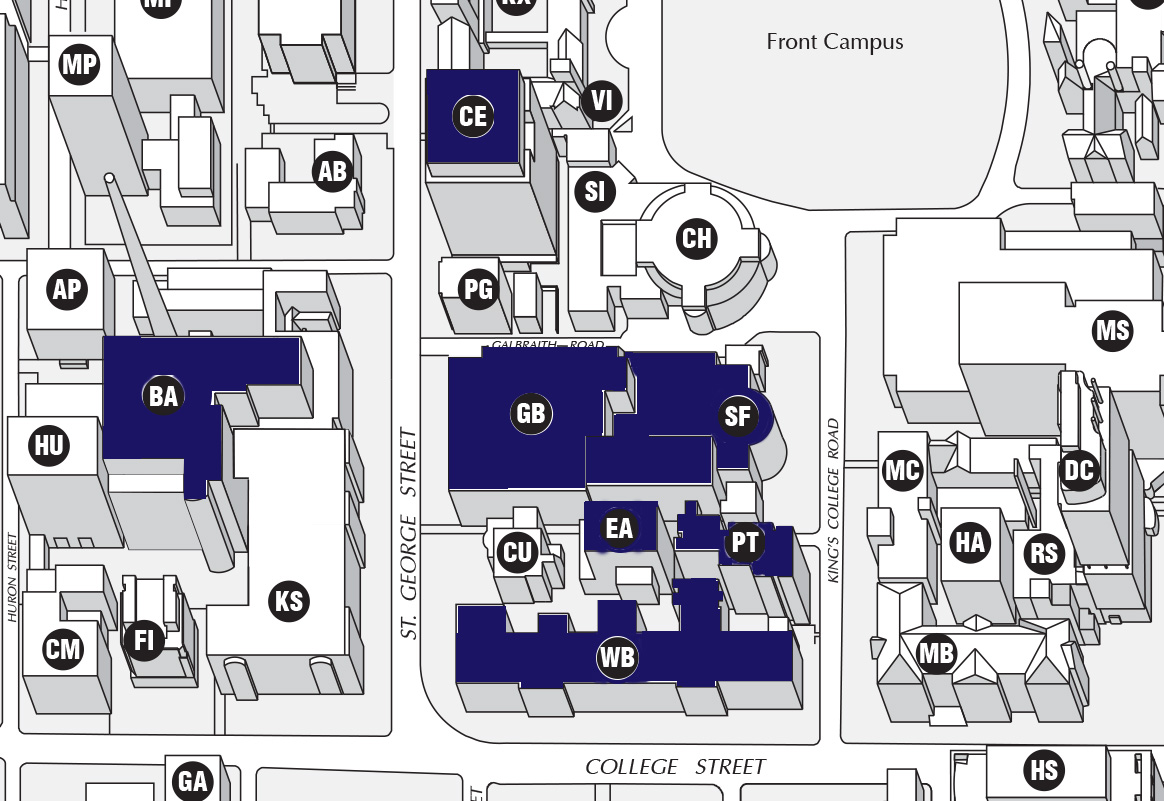 Map of of the engineering buildings ECE uses